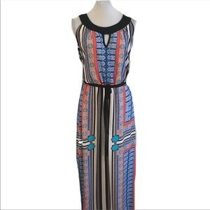 NY Collection Print Maxi Dress size XL Stretch B11